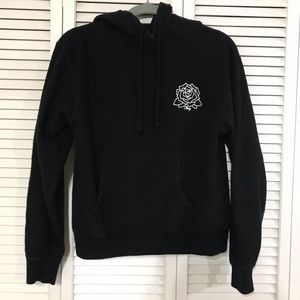 Obey Black Hoodie with Rose Graphic